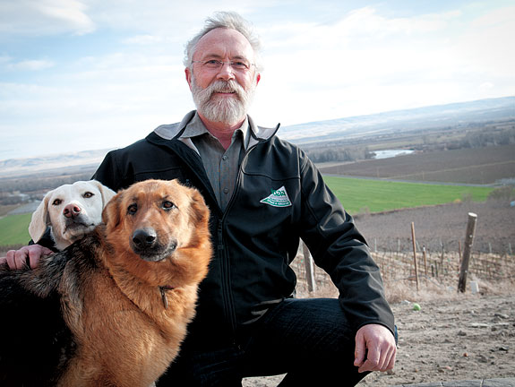 Dan Newhouse on his Sunnyside farm with Casper (at left) and Libelle in 2012. Zach Mazur