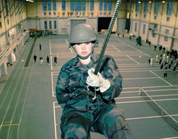 Victoria Renfro, cadet battalion commander, practices rappelling in Hollingbery Fieldhouse. Robert Hubner