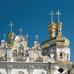 The beauty of Perchersk Lavra's churches belies the macabre symbolism of its caves. Tim Steury