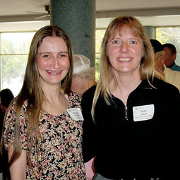 Michele Candela, with Distance Degree instructor Faith Lutze (political science), 2002 Commencement weekend.