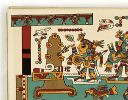 The Codex Nuttall, a widely studied pre-Columbian Mexican manuscript, provides an intriguing glimpse into the art and culture of the early Americas. It depicts the events in the life of a great military and political hero, 8-Deer Tiger Claw, the second ruler of the second dynasty of Tilantongo. He lived from 1011 A.D. to 1063 A.D. A page from Codex Nuttall: facsimile of an ancient Mexican codex belonging to Lord Zouche of Harynworth, England, with  an introduction by Zelia Nuttall. Cambridge, Massachusetts: Peabody Museum of American Archaeology and Ethnology, Harvard University, 1902. Courtesy of Manuscripts, Archives, and Special Collections, Washington State University.