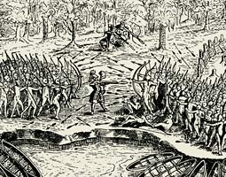 Samuel de Champlain helps fight off Indian forces as they attack the Iroquois stronghold of Ticonderoga. Originally printed in the Voyages du Sieur de Champlain by Iean Berjou, Paris, in 1613, the image illustrates how powerful tribes utilized the early colonists as allies in their own long-established rivalries, and how quickly the local Indians appreciated the advantages of European technology. From Ernst and Johanna Lehner, How They Saw the New World. New York: Tudor Publishing Company, 1966.