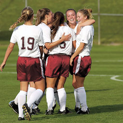 WSU women's soccer team celebrates a victory. By Shelly Hanks