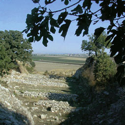 The view from the walls of ancient Troy, toward what was once the beach where Achilles landed.