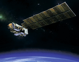 Artist's concept of the Aura satellite on which the Ozone Monitoring Instrument is mounted.