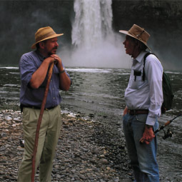 Gary Webster (right) and <em>Washington Tate Magazine</em> editor Tim Steury recover from descending 12 million years from the rim of Palouse River Canyon.