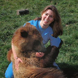 Dr. Lynne Nelson with a 17-month-old grizzly raised in captivity. Nelson studies heart muscle function in bears and works with David Lin, who studies muscle atrophy in bears.