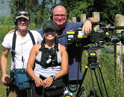 Brian Miller (right) with members of his crew for <em>The Next Joe Millionaire</em>shoot&mdash;Todd Yeager, audio, and Paula Abarca, camera assistant.