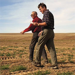 Jim Moore (left) farms 10,000 acres near Kahlotus, a region that averages nine inches of rainfall a year.