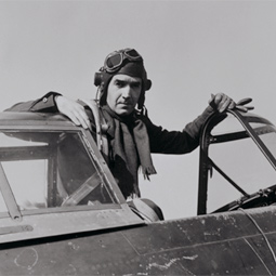 Murrow in a fighter plane, 1944.