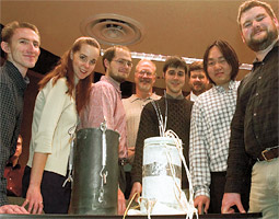 Charles Pezeshki (third from right) is a mentor to his students in Mechanical Systems Design.