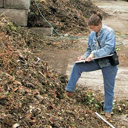 Tamara Thomas records compost temperature readings at a facility in Redmond.