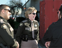 'It's a very hard career to mesh with a family,' says Sheriff Rahr. 'I am lucky to have had the opportunity to speak to groups of young women and tell them, 'Don't think you can have it all.''