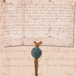 Pope Innocent III's papal bull dated June 8, 1216, confers protection on a house for lepers in France.