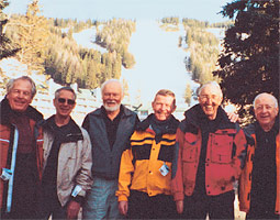Members of WSC ski teams from the early 1950s gathered at Big Mountain, Montana, in March 2005: Bruno Richter '55, Jerry Gaiser, Bill Noble '58, Gordon McKenzie '55, Al Fisher '54, sandy Jacobson '57, Chuck (Ferg) McKillop, and Bard Glenne '57.