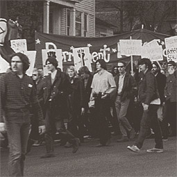Students march on Pullman.