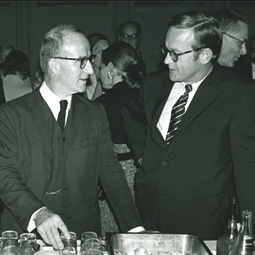 Rockey with Gerard Piel, chairman of <em>Scientific American</em, at the Pacific Science Center in the 1980s.