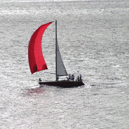 The <em>Kahuna</em> at sea near the finish line.