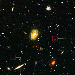 This section of the Hubble Ultra Deep Field includes galaxies of various ages, sizes, shapes, and colors.