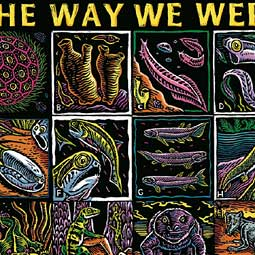 <em>The Way We Were</em> (1997), handcolored linoleum block print. With the help of an ichthyologist, Troll's 16-step evolutionary path reaches back through some really remarkable creatures.