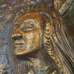 Detail of Chief Kamiakin from a bas-relief bronze sculpture by Jeff Hoppis at the St. Joseph Mission at the Athanum near Yakima.