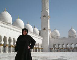 At the Sheikh Zayed Mosque, Abu Dhabi, United Arab Emirates.