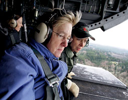 Murray tours flood-damaged Washington in January with Governor Chris Gregoire and Senator Maria Cantwell. Washington became the first state to have three women at once in its highest political posts. <em>Elaine Thompson/Associated Press</em>