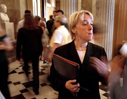 Murray takes a reporter's question in 2001 after a heated debate in the Senate over the issue of the safety of trucks from Mexico. Her position, which was later accepted, included that the trucks be inspected before being allowed operate on U.S. Highways. <em>Ray Lustig/The Washington Post</em>