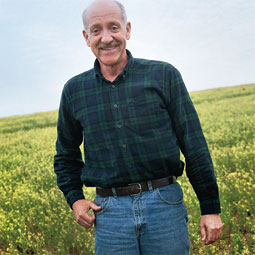 Agronomist Bill Schillinger in a camelina field at WSU's Lind state. By Zach Mazur