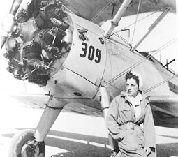 WASP Jeanne Norbeck with one of her test planes. Courtesy the Atterbury-Bakalar Air Museum.