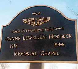 A memorial for Norbeck who died testing a plane. Courtesy the Atterbury-Bakalar Air Museum.