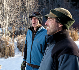 Ryan Anderson '08 and Steve Bondi '02 look over a beaver pond complex on Little Cub Creek in the Methow Valley. By Matt Hagen