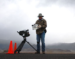 Alan Baker '94 PhD working the camera on the set of indie film 'The Mountain, the River, and the Road.' <em>Courtesy Alan Baker</em>