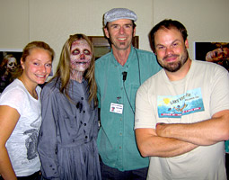 Baker (wearing hat) with Ghost Alice and special effects makeup artists on 'John Carpenter's The Ward.'  <em>Courtesy Alan Baker</em>