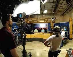 Students learn production hands-on at KWSU on the Pullman campus. <em>Shelly Hanks</em>