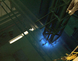 The glowing blue core of WSU's nuclear reactor. <em>Video still by Matthew Haugen</em>