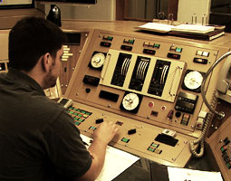 Senior Mathew King at the controls of the