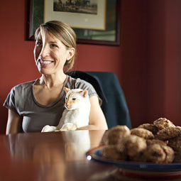 Annie Thiessen at rest. The marathon runner and veterinarian enjoys a rare quiet afternoon at home with a