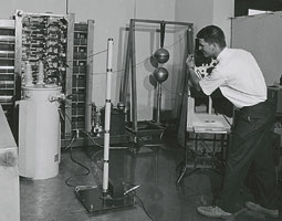 For his master&rsquo;s project, Kirby Holte (&rsquo;71 PhD) built a high-voltage generator that produced 320,000 volts as part of the electrical engineering department&rsquo;s Spokane Transformer Company project. <em>Courtesy WSU MASC</em>