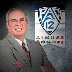 WSU athletic director Bill Moos with the new Pac-12 logo. <em>Photoillustration Shelly Hanks/Staff</em>