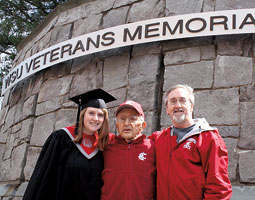 Amy Leonard &rsquo;11, Elmer F. Leonard &rsquo;49, and Steve Leonard &rsquo;81. <em>Staff photo</em>