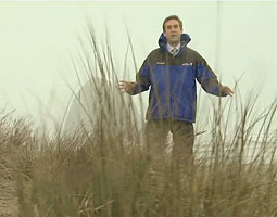 Now with KGW in Portland, meteorologist Nick Allard '03 also tracked storms for King 5 and NWCN in Seattle and for KVEW Tri-Cities/Yakima. <em>Video Frame Courtesy KGW</em>