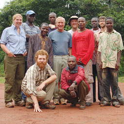 Ed Hagen (red beard) with WSU researchers and local research assistants in the Central African Republic. <em>Courtesy Ed Hagen</em>