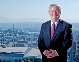 Everett Mayor Ray Stephanson atop City Hall. <em>Matt Hagen</em>