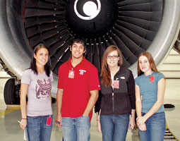 Boeing scholars (left to right) Shannon Byler '09, Danny Navarro '10, Anne Zaremba '09, and Michelle Boyer '09. <em>Courtesy Michelle Boyer.</em>