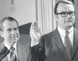 William D. Ruckelshaus is sworn in as administrator of the EPA in 1970. <em>Charles Tasnadi/Associated Press</em>