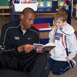 Marcus Capers participating in the the WSU Athletics Reading Buddies Program. <br /><em>Courtesy WSU Athletics</em>