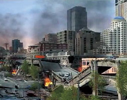Video frame from &ldquo;Alaskan Way Viaduct and Seawall Replacement Project,&rdquo; depicting simulated damage from an earthquake. <em>Prepared for WSDOT by Parsons Brinckerhoff</em>