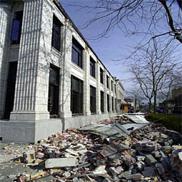 Damage from the 2001 Nisqually Quake. <em>Courtesy Washington EMD</em>