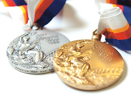 A pair of Tom Jager's Olympic medals. <em>Robert Hubner</em>